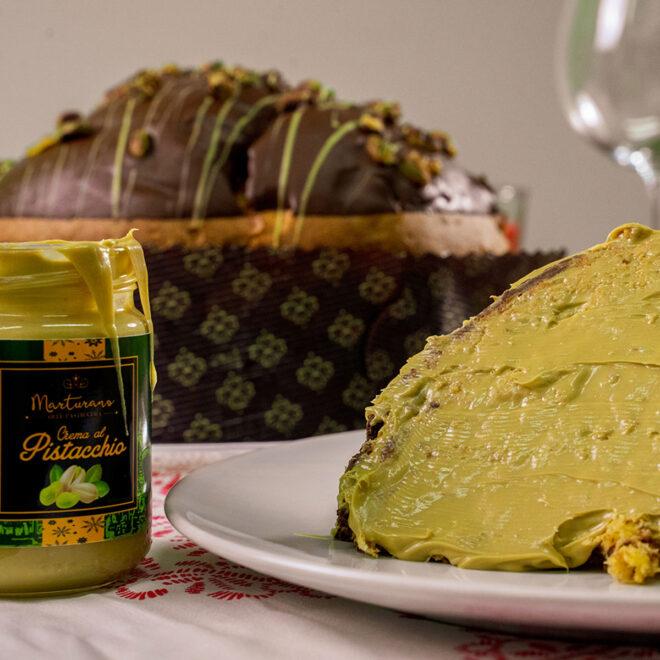 panettone al pistacchio con crema al pistacchio e vasetto
